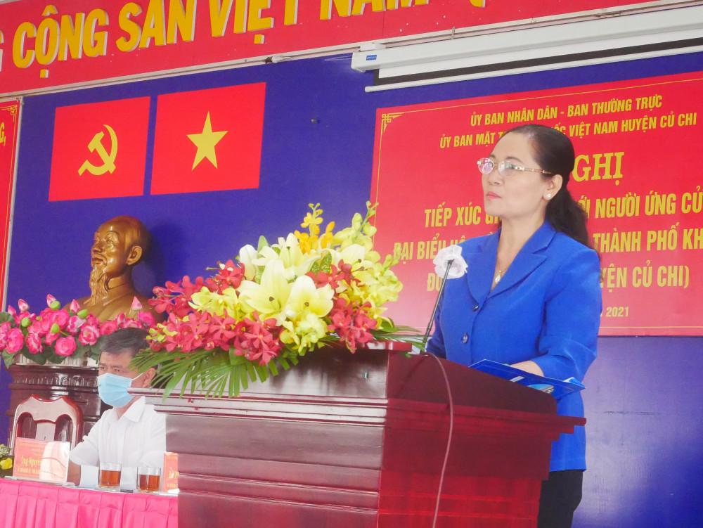 Bà Nguyễn Thị Lệ - Phó bí thư Thành ủy, Chủ tịch HĐND TPHCM, tại hội nghị chiều 8/5