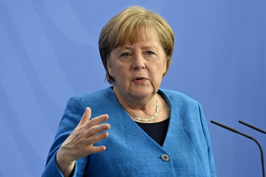 Thủ tướng Đức Angela Merkel tham dự một cuộc họp báo sau hội nghị thượng đỉnh EU, ngày 8/5.