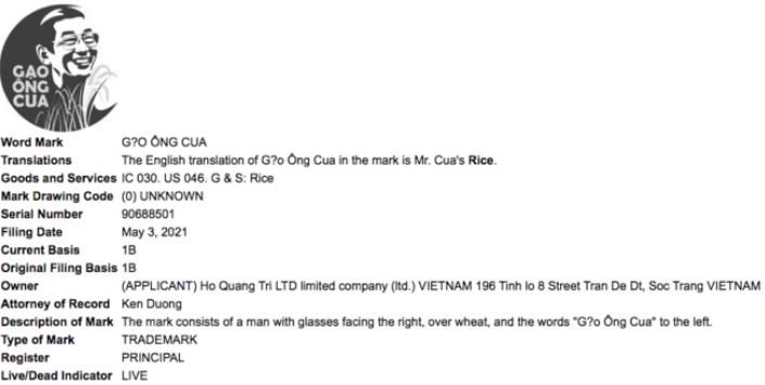 Thông tin nhãn hiệu Gạo Ông Cua đăng ký bảo hộ tại USPTO