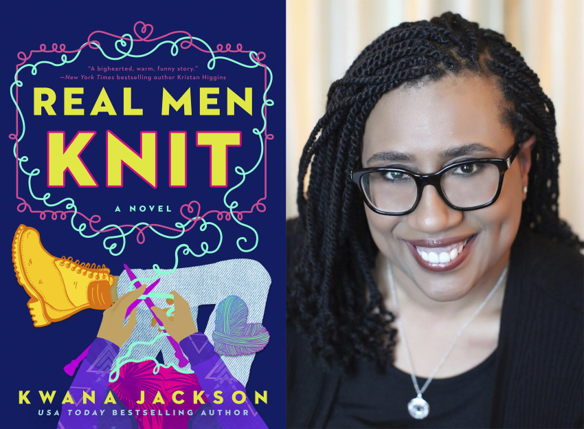 Bìa tiểu thuyết Real Men Knit và chân dung của tác giả Kwana Jackson.