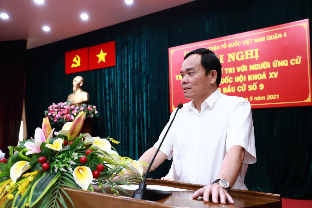 Ông Trần Lưu Quang cam kết đưa tiếng nói của người dân quận 4 và TPHCM đến với Quốc hội.