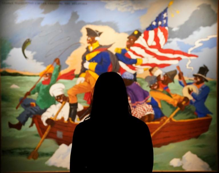 Sotheby's đang bán đấu giá tác phẩm George Washington Carver Crossing the Delaware: Page from a American History Textbook của họa sĩ Robert Colescott quá cố