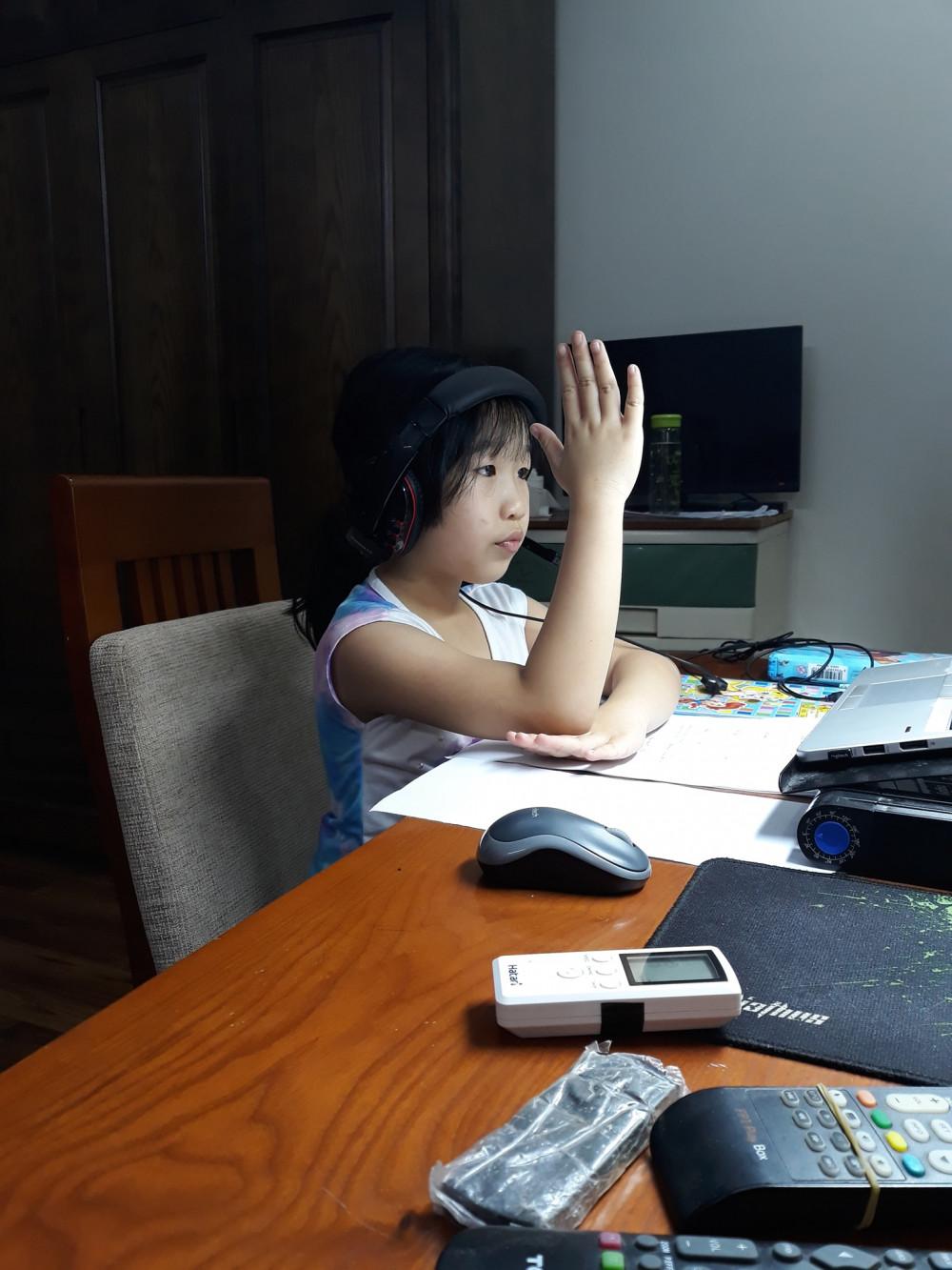 Một em học sinh rất nghiêm túc khi học online. (Ảnh: Internet)