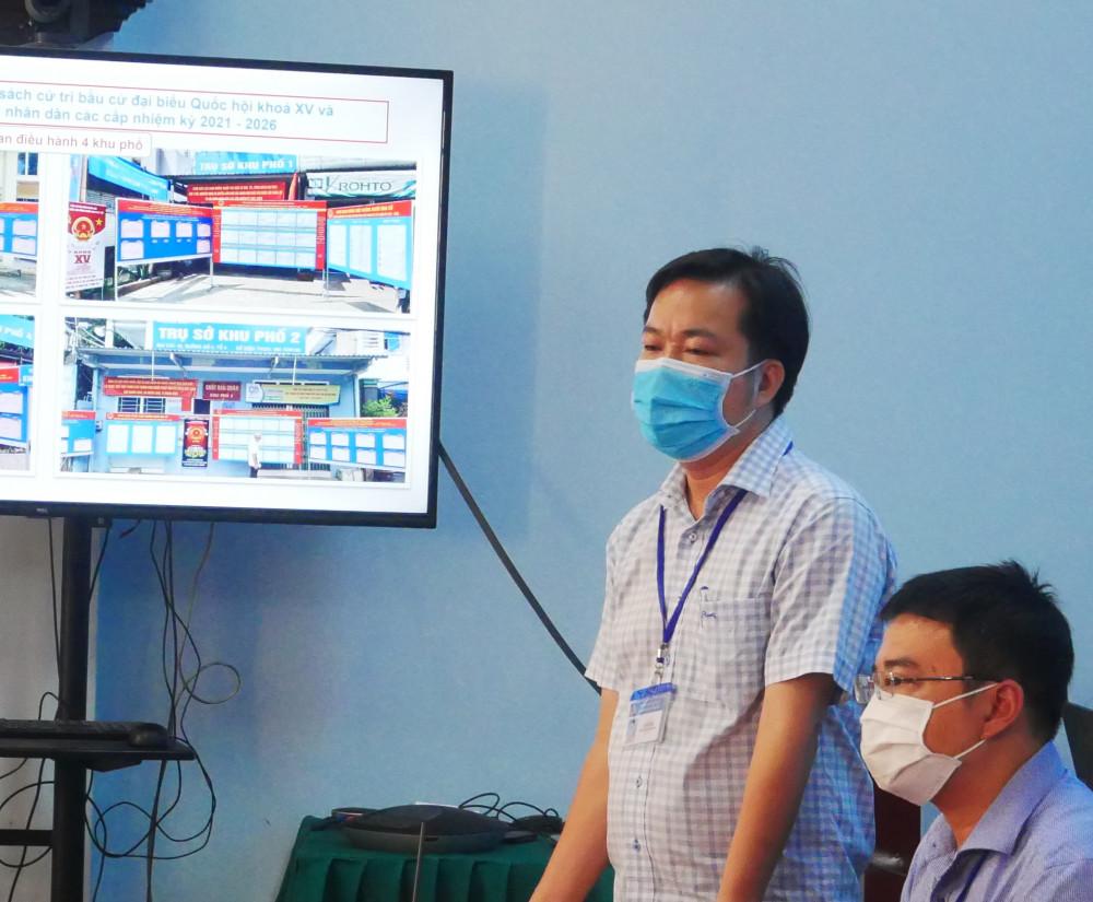 Ông Lê Hữu Nghị - Chủ tịch UBND P.Bình Thọ báo cáo tại cuộc giám sát