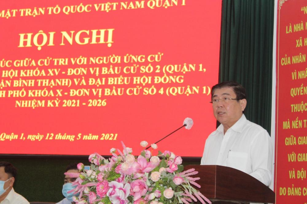 Chủ tịch UBND TPHCM đề nghị đồng bào cử tri tích cực góp sức cùng TP chống dịch.