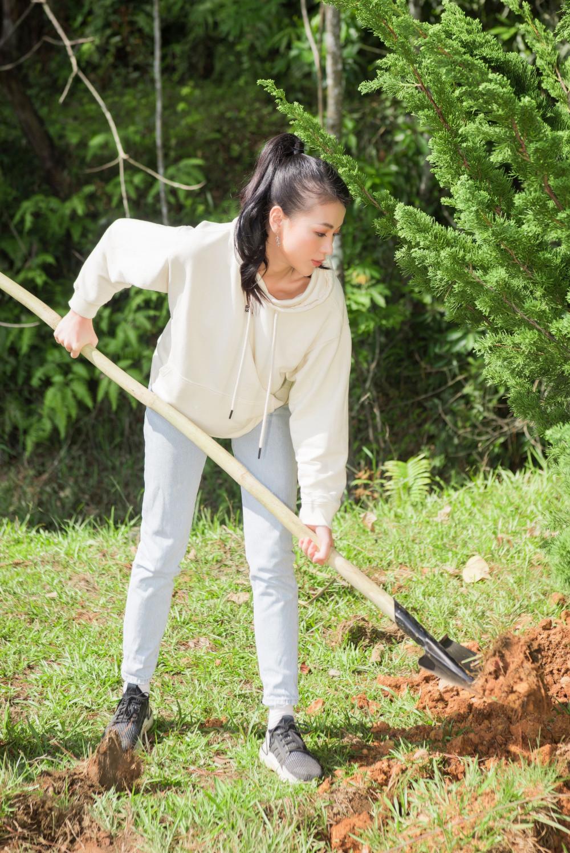 Thường xuyên tham gia các dự án vì cộng đồng, Hoa hậu Phương Khánh tiếp tục gây ấn tượng ghi ăn mặc khá giản dị với quần jean, áo thun trong hoạt động trồng cây gây rừng lần này.