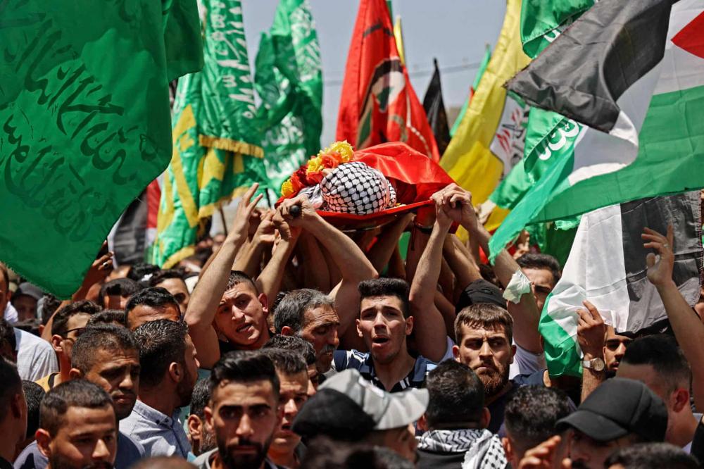 Đám tang của Rashid Abu Ara (16 tuổi) người Palestine, thiệt mạng trong cuộc đụng độ với quân đội Israel tại làng Aqaba gần Nablus