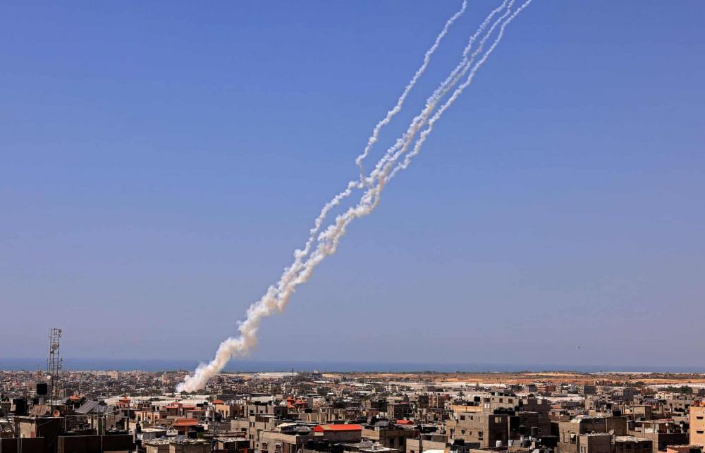 Tên lửa phóng về phía Israel từ khu vực Rafah ở phía nam Dải Gaza
