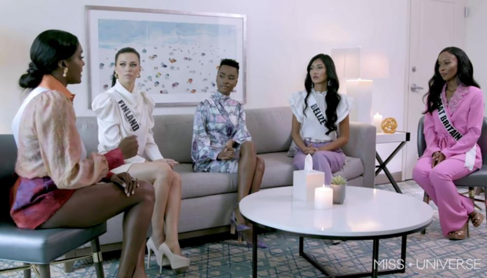 4 thí sinh trò chuyện với Hoa hậu Hoàn vũ 2019 Zozibini Tunzi (tóc ngắn) về vấn đề bạo lực giới