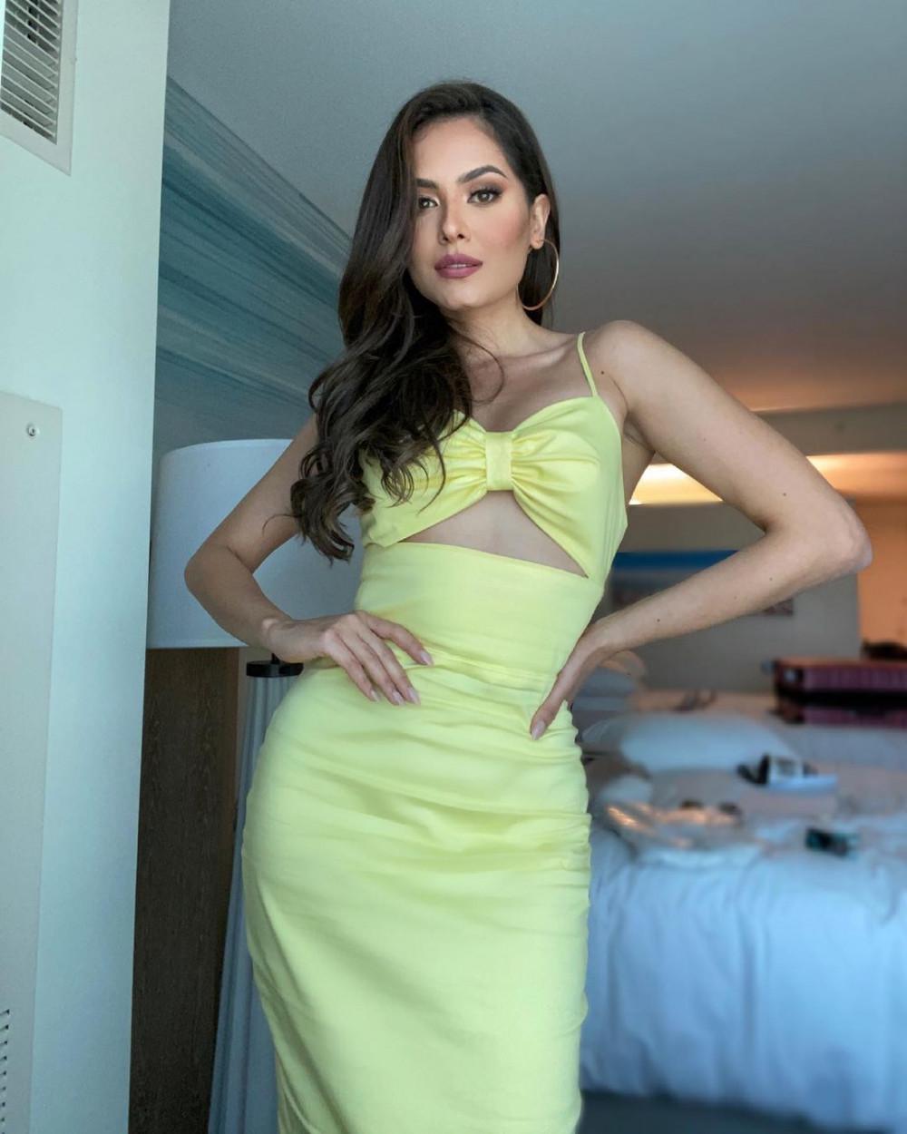 Andrea Meza cũng thích trang phục cut-out để khoe được hình thể săn chắc.