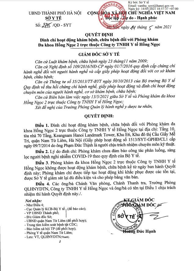 Quyết định đình chỉ hoạt động khám, chữa bệnh đối với Phòng khám Đa khoa Hồng Ngọc 2 (tầng 10, Toà nhà 70 tầng Keangnam Hanoi)