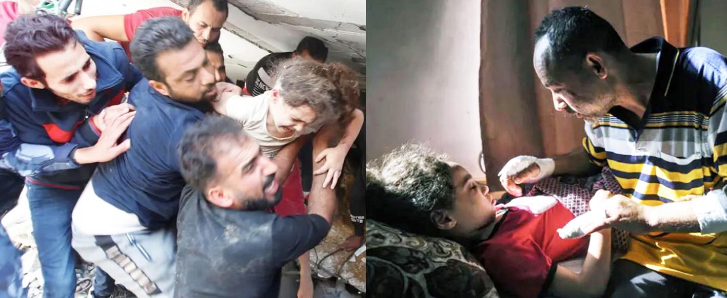 Bé Suzy Eshkuntana được cứu sống từ đống đổ nát, nơi mà mẹ và bốn anh chị em của mình đã chết (ảnh trái) và sự im lặng đáng sợ của em khi ở bệnh viện dù đã được gặp cha (ảnh phải)