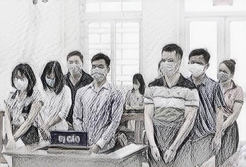 Các bị cáo tại phiên tòa sáng 20/5