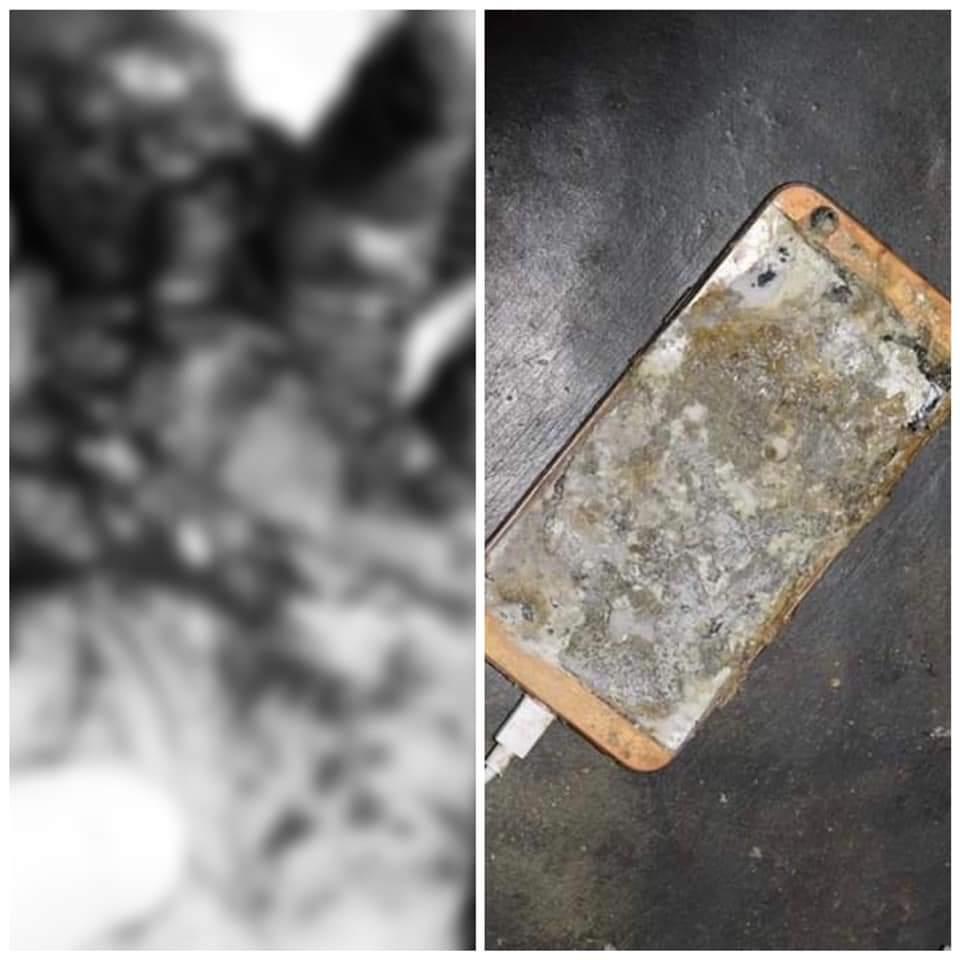 Chiếc điện thoại này đang kết nối với cục sạc dự phòng thì bỗng dưng phát nổ