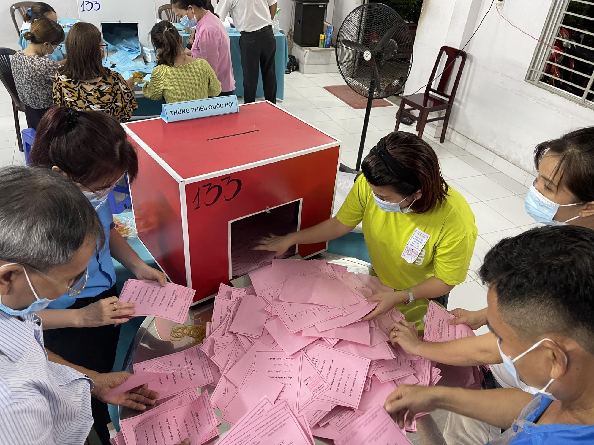 Khui thùng phiếu tại một Tổ bầu cử ở P.Tân Chánh Hiệp, quận 12