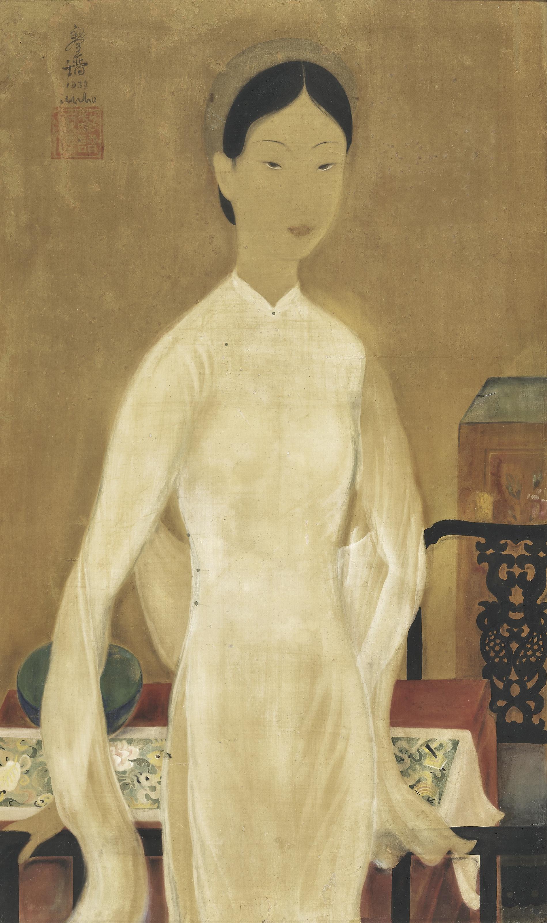 Bức Cái bát xanh của Lê Phổ không tạo ra được cuộc đua giá sôi động như những bức còn lại.
