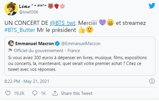 Người hâm mộ BTS bình luận dưới dòng twett của Tổng thống Pháp.
