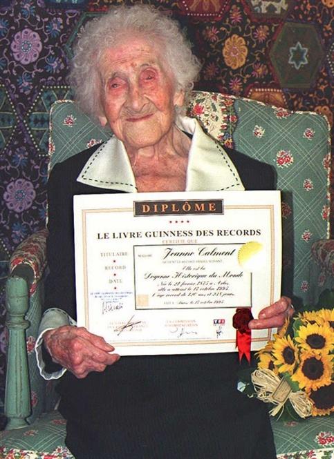 Cụ bà Jeanne Calment với kỷ lục Guinnesss người thọ nhất hành tinh