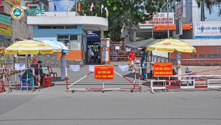 Bệnh viện quận Tân Phú bị tạm phong tỏa. Ảnh HCDC