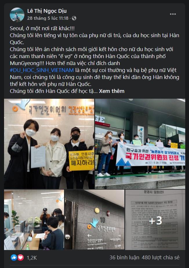 Bài viết trên facebook của chị Lê Thi Ngọc Dịu bày tỏ sự bất bình trước chính sách đầy phân biệt của Chính quyền thành phố Mungyeong