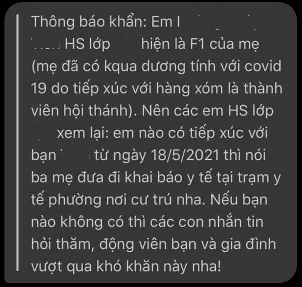 Tin nhắn của cô giáo gửi cho các bạn trong lớp có ca F1 Trường THCS P.T.H. (Q.Gò Vấp)  - Ảnh: Hồng Miên