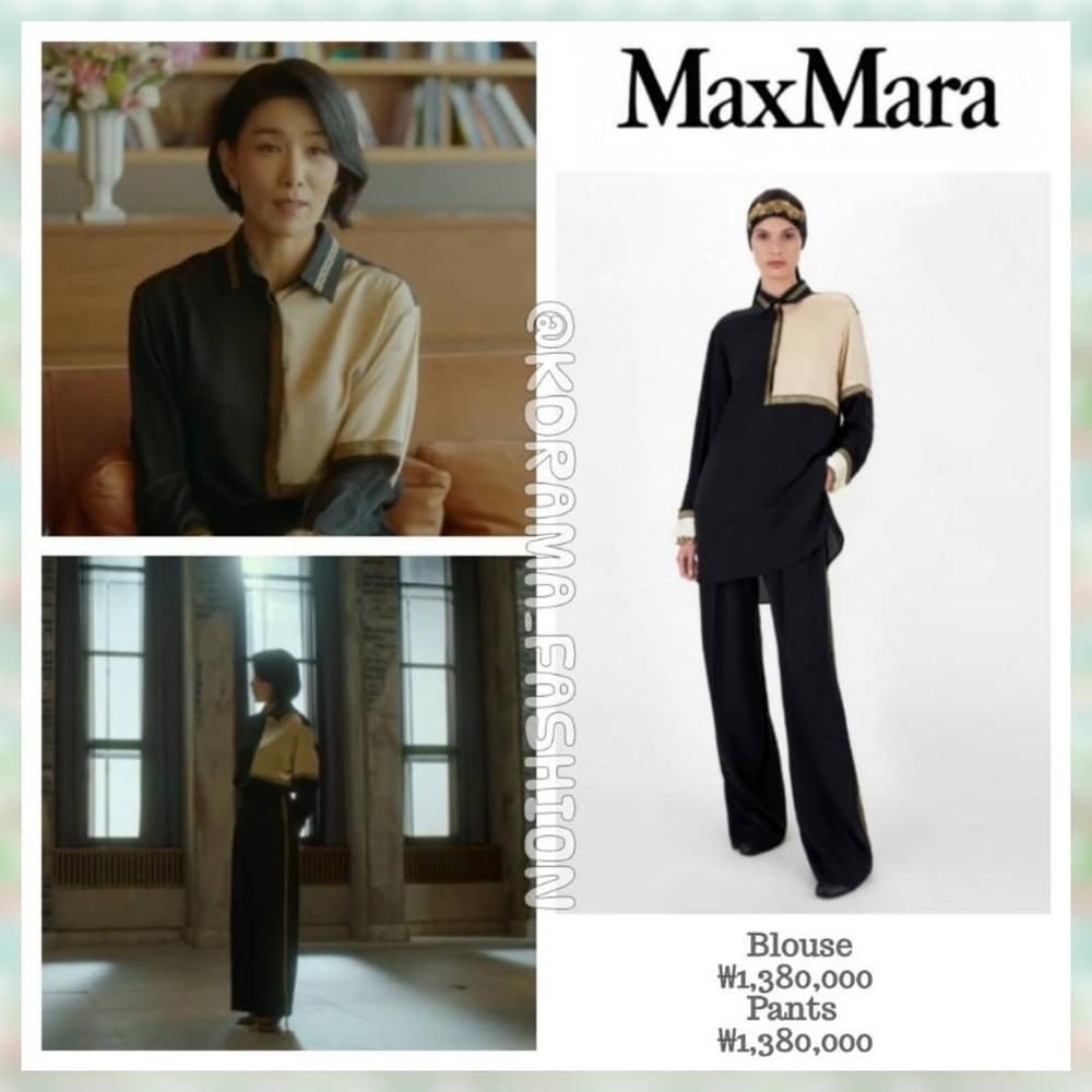 Bộ trang phục áo sơ mi và quần tây với thiết kế màu sắc trắng kem và đen xen lẫn mang đến hình ảnh quý cô sành điệu. Set đồ đến từ thương hiệu Max Mara có giá 55 triệu đồng.