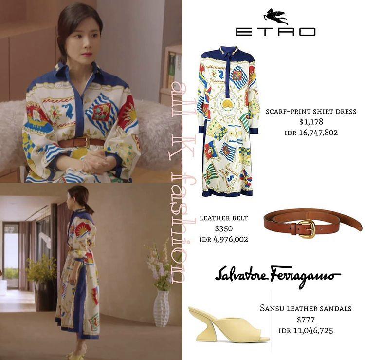 Váy sơ mi họa tiết nổi bật kết hợp với giày Salvatore Ferragamo và thắt lưng da với tổng giá trị là 53,8 triệu đồng giúp nữ chính Lee Bo Young thể hiện đúng chất vương giả.