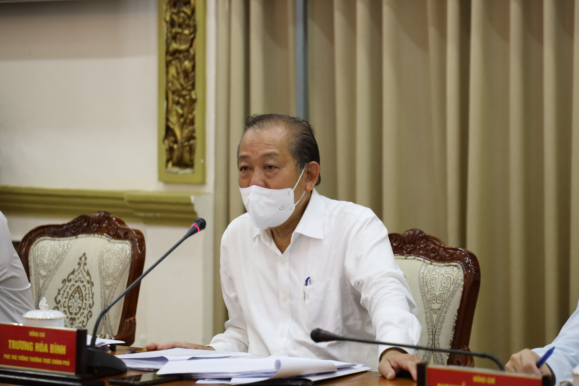 Phó thủ tướng thường trực Trương Hòa Bình dẫn đầu đã có buổi làm việc với Ban chỉ đạo phòng, chống dịch COVID-19 tại TPHCM vào sáng 1/6/2021