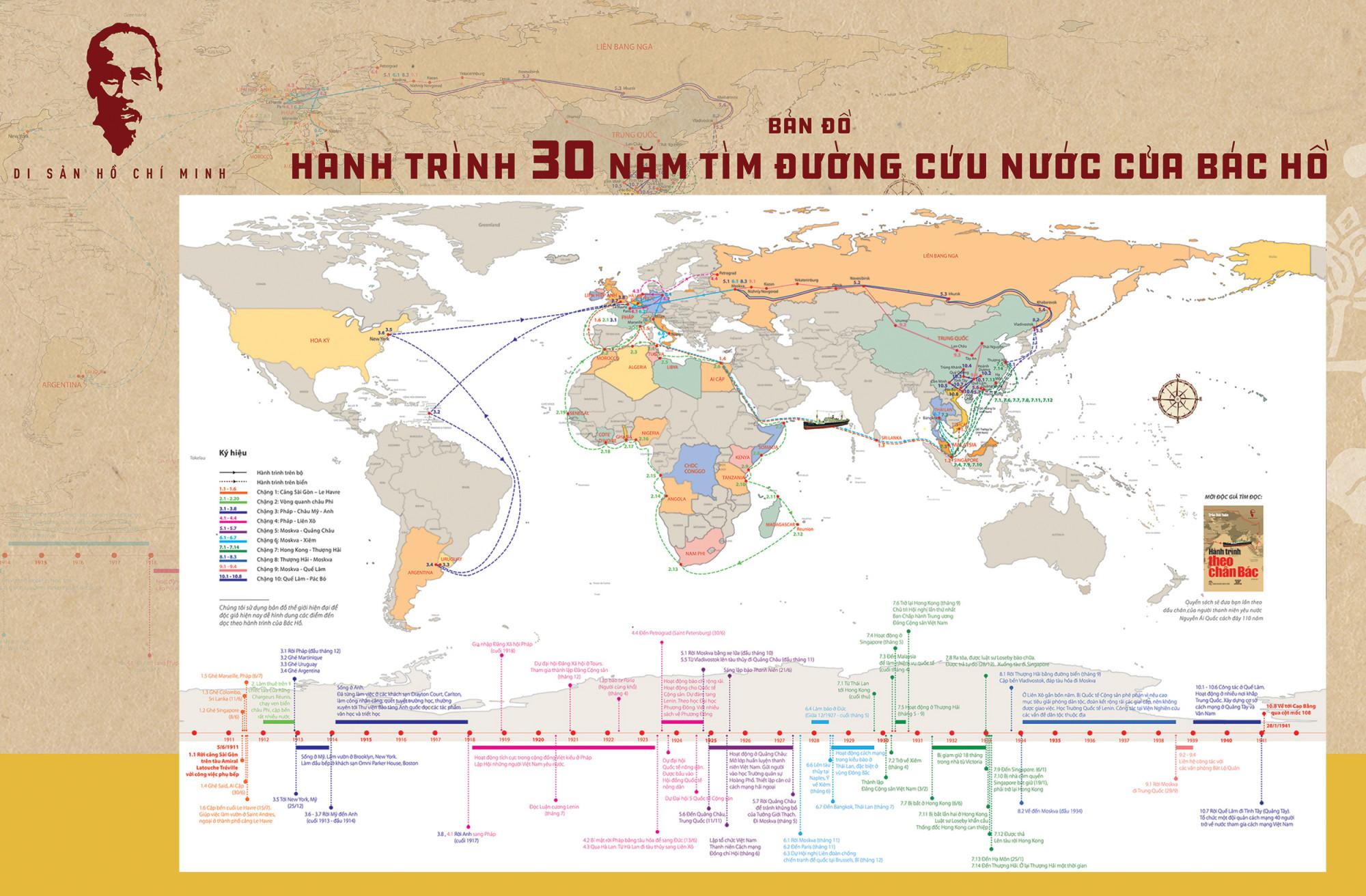 Tấm bản đồ ghi dấu những chặng hành trình của Bác trong 30 năm đi tìm đường cứu nước