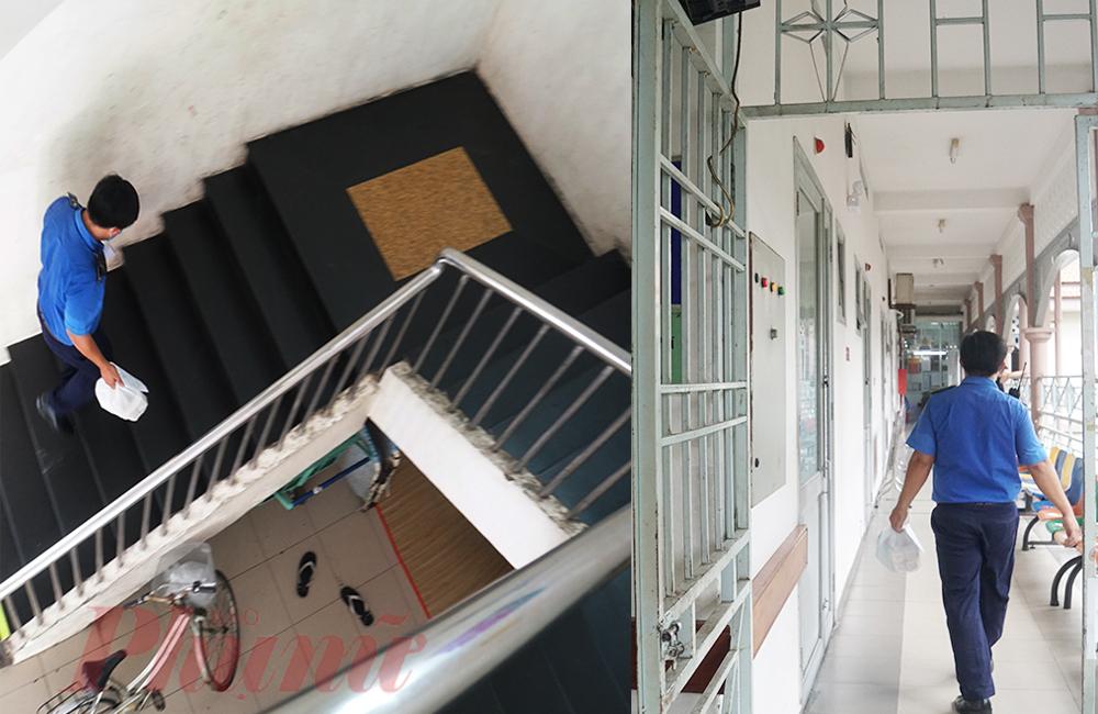 Đưa đồ cho chị Gái xong, anh Khoa tất tả di chuyển đến khoa Cấp cứu, tất cả khoa phòng anh đều chủ động đi thang bộ để hạn chế lây nhiễm COVID-19 trong thang máy. Tầng cao nhất phải giao là tầng 3, Chạy lên chạy xuống riết cũng quen thôi, xem như tập thể dục, anh cười.