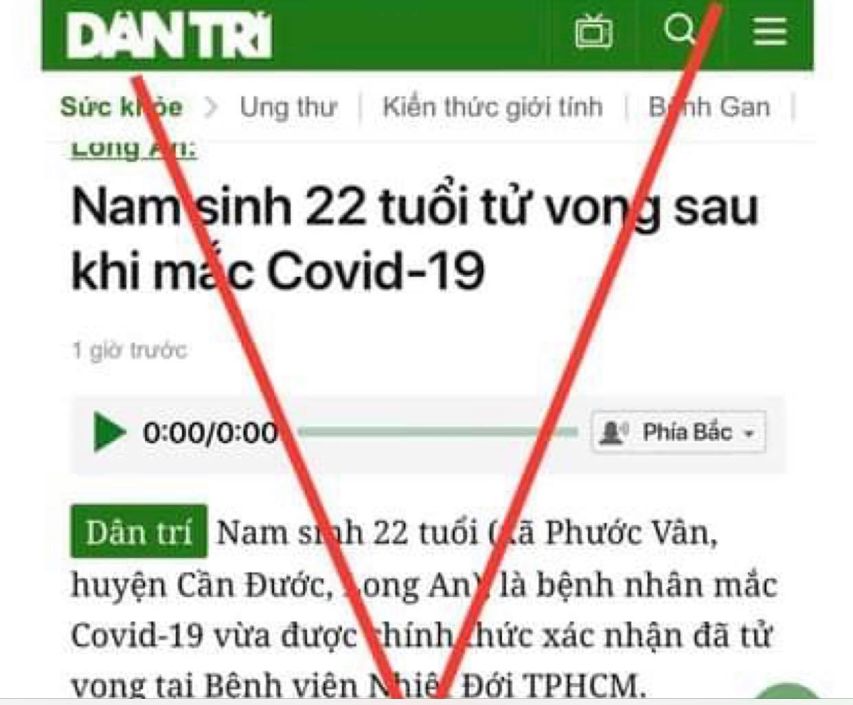Bài báo thông tin sai sự thật trên Báo điện tử Dân Trí đã được gỡ bỏ
