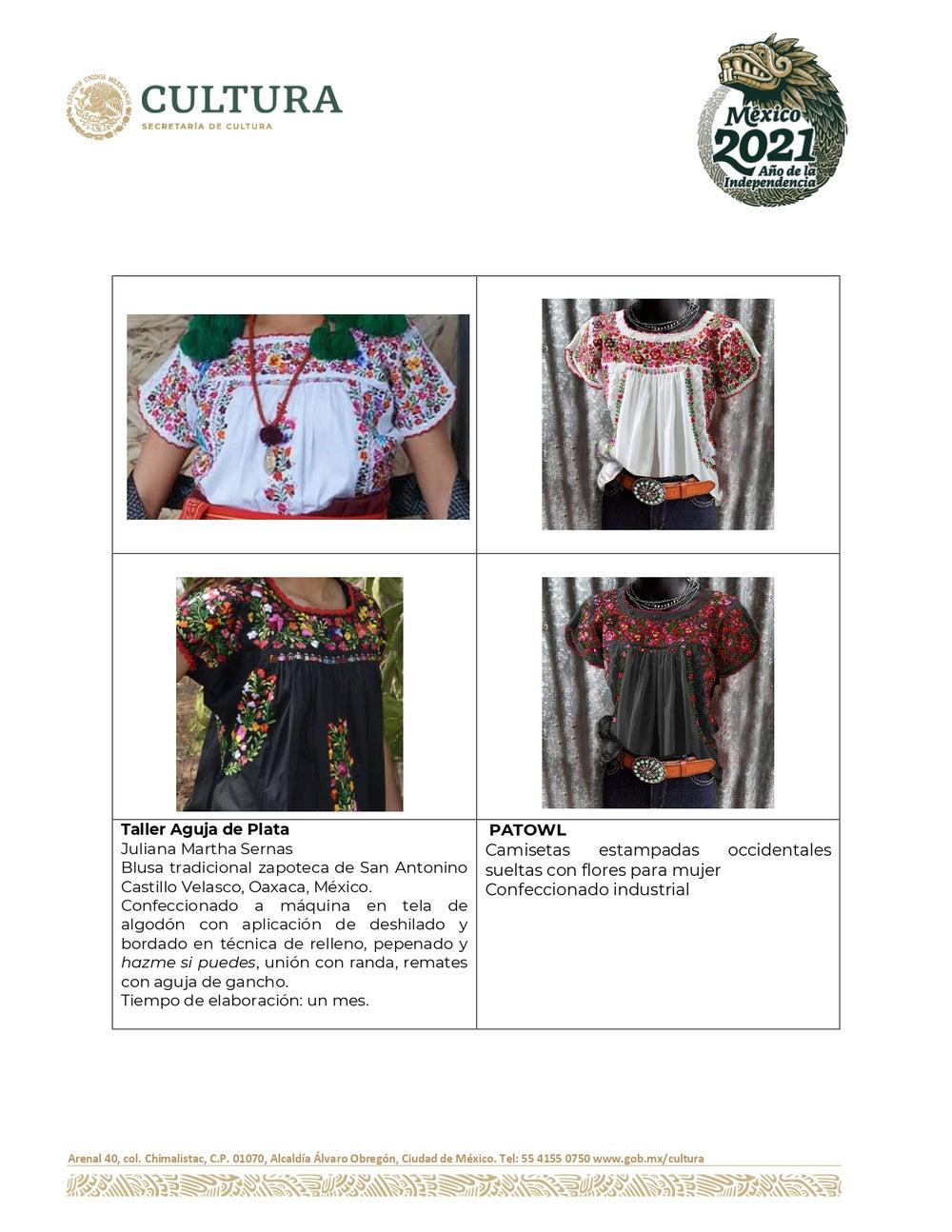 Phía Mexico đưa ra những so sánh cho thấy các mẫu của dân địa phương và mẫu của một số thương hiệu có sự giống nhau.