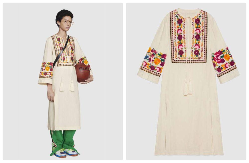 Mẫu váy thêu hoa kaftan của Gucci bị phàn nàn vì giá quá đắt.