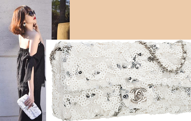Chanel white & silver sequin east west flap bag limited