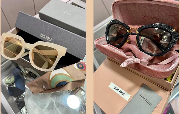 Chiếc kính từ thương hiệu Miu Miu (phải) được Trúc Diễm gợi ý cho những cô nàng yêu thích sự ngọt ngào. Chiếc còn lại