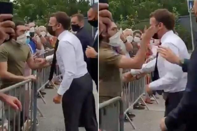 Tổng thống Emmanuel Macron bất ngờ bị một người đàn ông tát vào mặt khi đang chào hỏi đám đông.đã bị tát vào mặt khi đang chào hỏi một đám đông