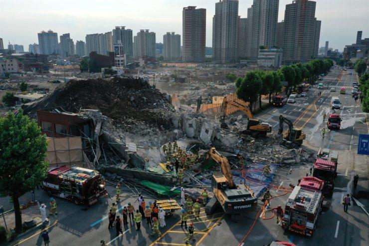Hiện trường vụ sập nhà ở Gwangju - Ảnh: Yonhap