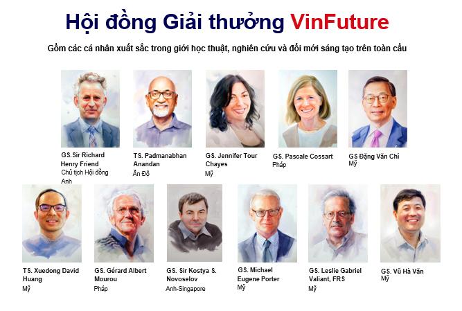 Các thành viên Hội đồng giải thưởng VinFuture. Ảnh: Vingroup
