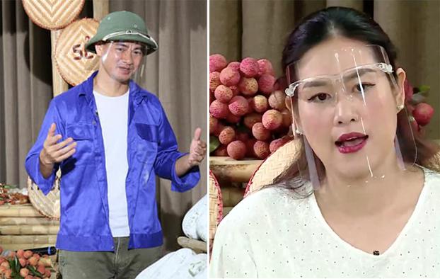 NSƯT Xuân Bắc và diễn viên Hà Hương trong 2 buổi livestream bán hàng khác nhau.