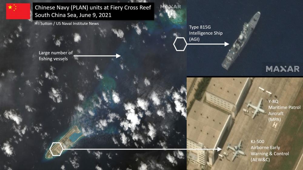 Hoạt động của các tàu giám sát Trung Quốc tại khu vực Đá Chữ Thập trong quần đảo Trường Sa của Việt Nam. Ảnh chụp ngày 9/6/2021 - Ảnh: Maxar Image