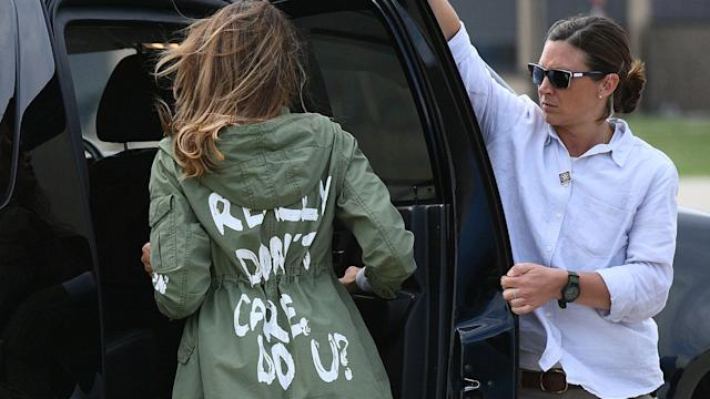 Bà Melania Trump rời Căn cứ hỗn hợp Andrews vào năm 2018 - Ảnh: AFP/Getty Images