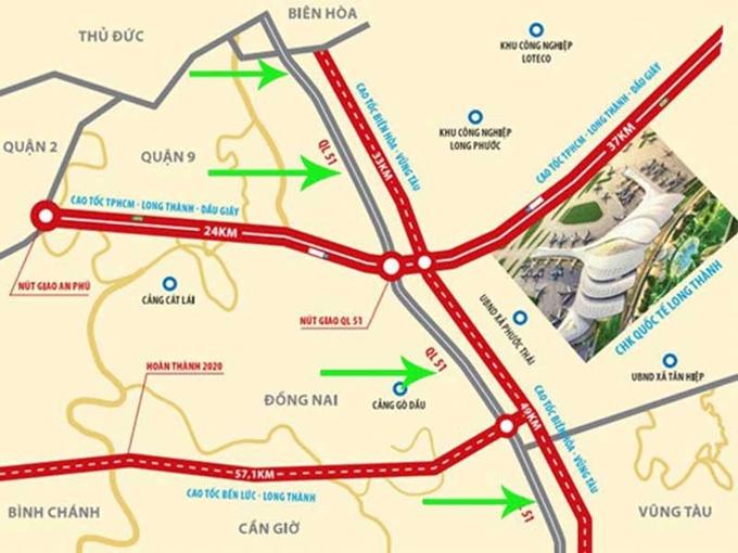 Bản đồ đường cao tốc Biên Hòa - Vũng Tàu. (Ảnh:bariavungtau.gov.vn)