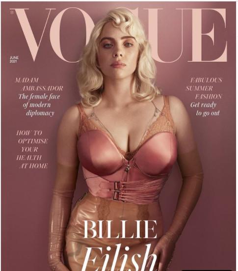 Billie Eilish trên bìa tạp chí Vogue Anh tháng 6/2021.