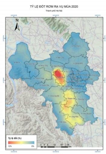 Bản đồ về tỷ lệ đốt rơm rạ vụ mùa 2020 tại TP. Hà Nội