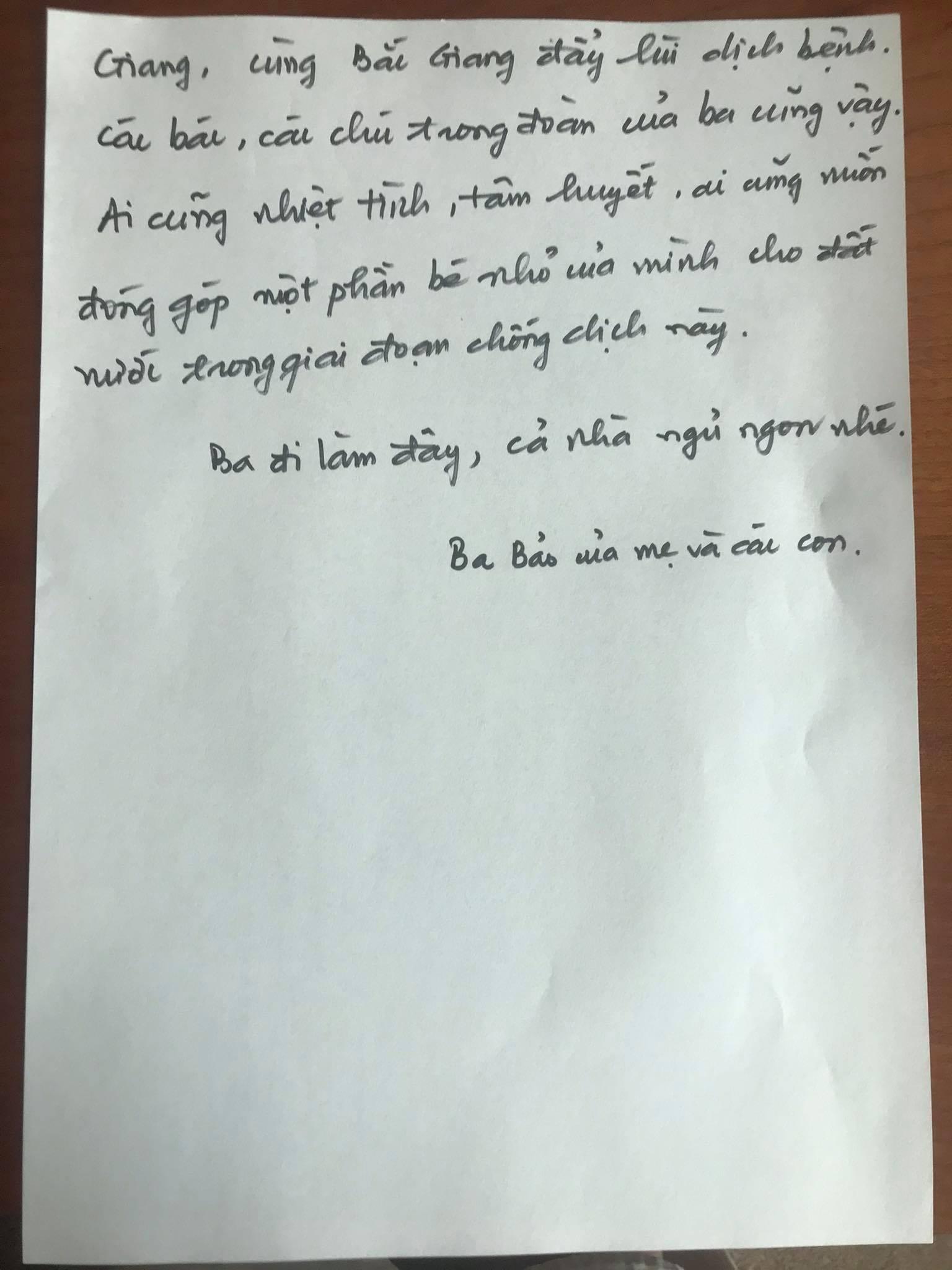 Toàn bộ nội dung lá thư gửi vợ con của điều dưỡng Đặng Quốc Bảo (Ảnh nhân vật cung cấp)