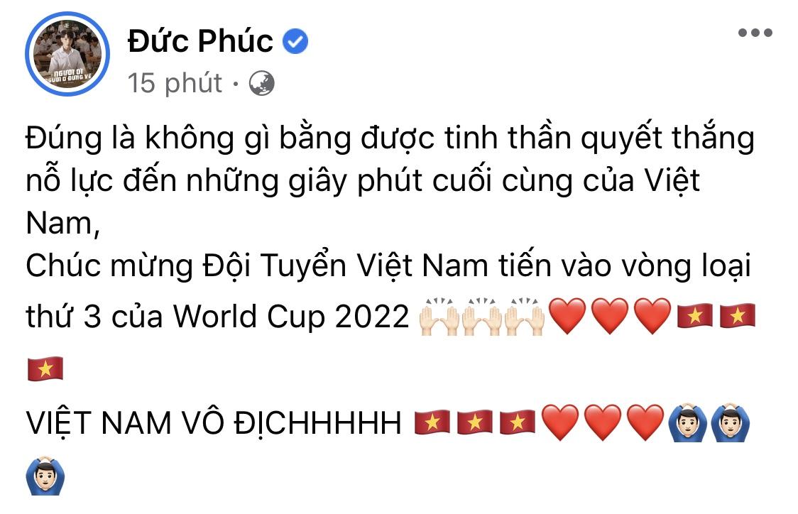 Ca sĩ Đức Phúc hào hứng trước chiến thắng của đội tuyển Việt Nam.