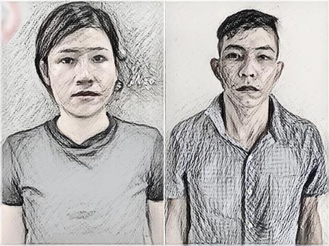 Chân dung đối tượng Nguyễn Thị Thúy và đối tượng Ngô Văn Quỳnh. Ảnh: Công an huyện Tân Yên