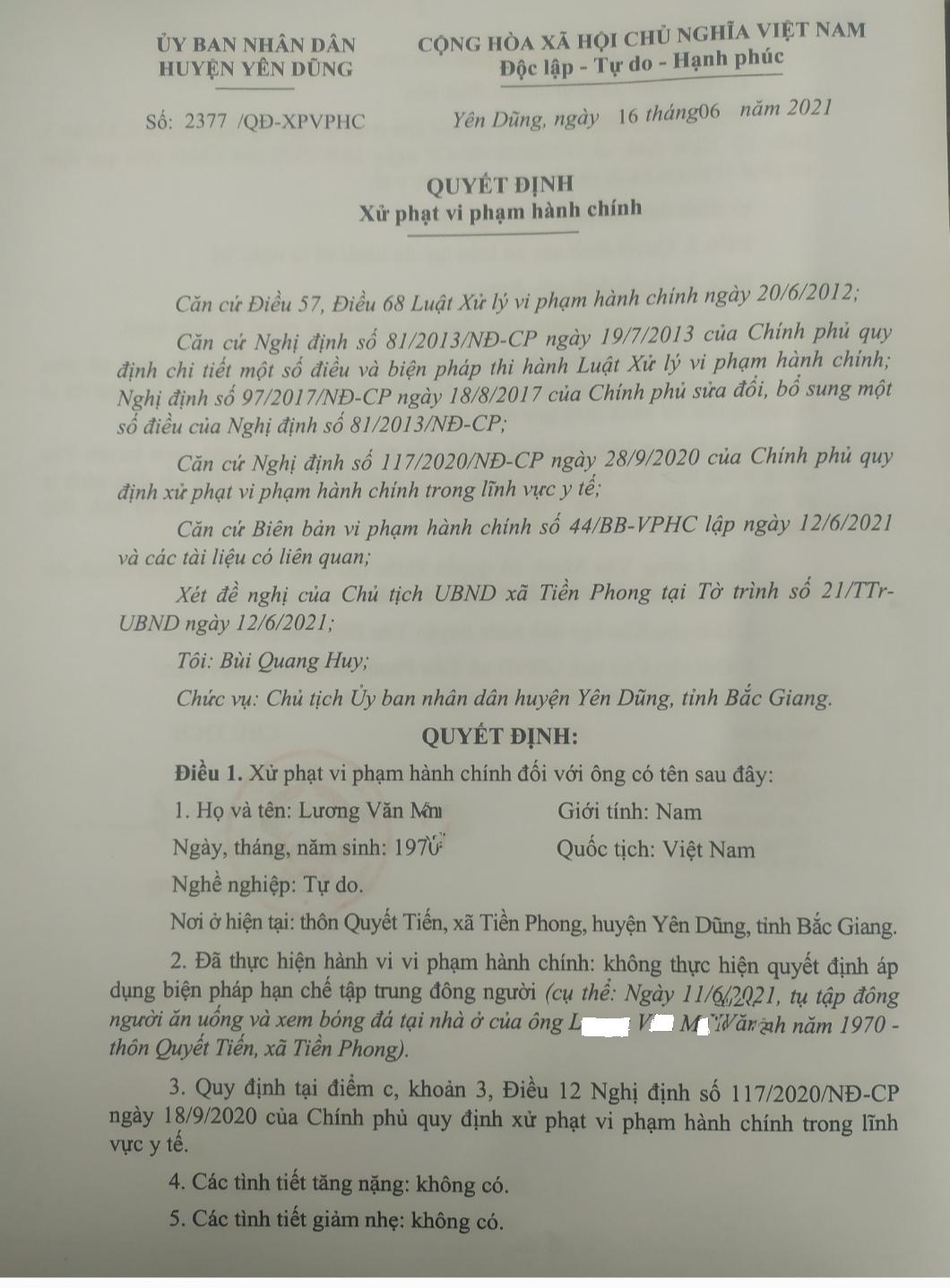 Quyết định xử phạt VPHC của ông L.V.M