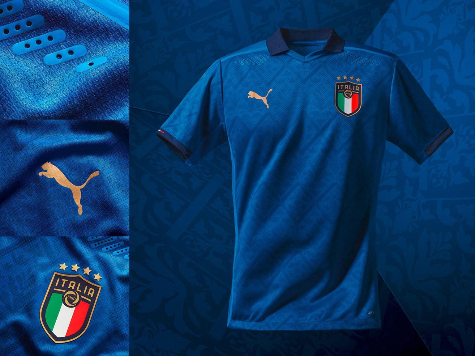 Lọt danh sách hững chiếc áo thi đấu bóng đá cực đẹp mùa giải EURO 2020, áo đấu của tuyển Ý đột phá bằng những họa tiết mô phỏng thời kỳ phục hưng trong quá khứ thành một đồ họa hình học hiện đại, kết hợp hài hòa với áo đấu màu xanh lam gợi nhớ ảnh hưởng của Ý đối với văn hóa thế giới và bóng đá. Đồng thời, mẫu áo này cũng khẳng định sự quyết tâm của tuyển Ý trong hành trình sau nhiều kỳ Euro không thành công.