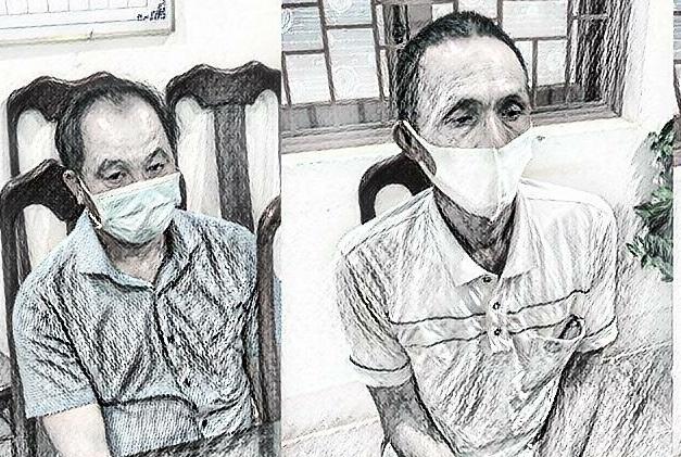 Hai đối tượng Hồ Doãn Tú và Phạm Đình Lan tại cơ quan công an